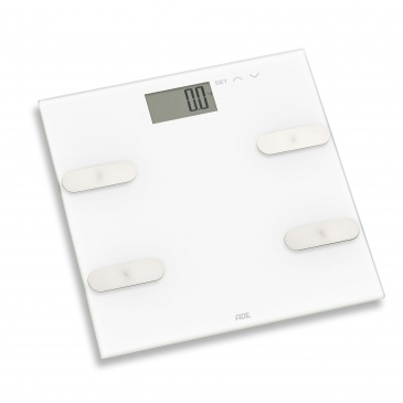 waga łazienkowa z analizą masy ciała, do 180 kg, 30 x 30 cm, biała