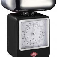 Wesco - Waga kuchenna czarna z zegarem Wesco