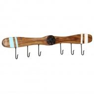 Wieszak ścienny z 6 haczykami, drewno sheesham, 108x6x19 cm