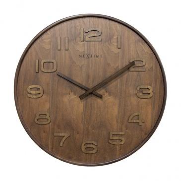 Zegar 52,8 cm NeXtime Wood Wood Big brązowy