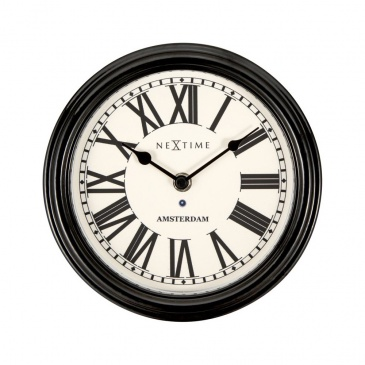 Zegar ścienny 21,5 cm NeXtime Amsterdam czarny