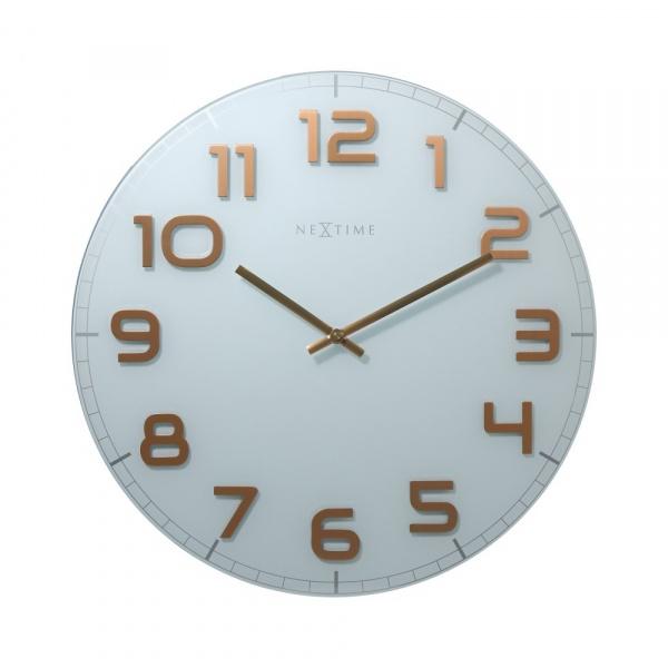 Zegar ścienny 30 cm Nextime Classy biało-miedziany 8817WC