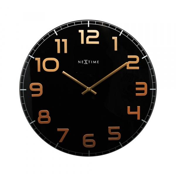 Zegar ścienny 30 cm Nextime Classy czarno-miedziany 8817BC
