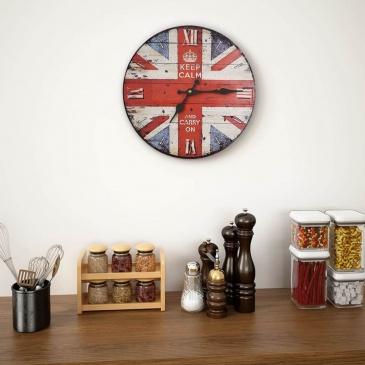 Zegar ścienny do kuchni, w stylu vintage, flaga UK, 30 cm