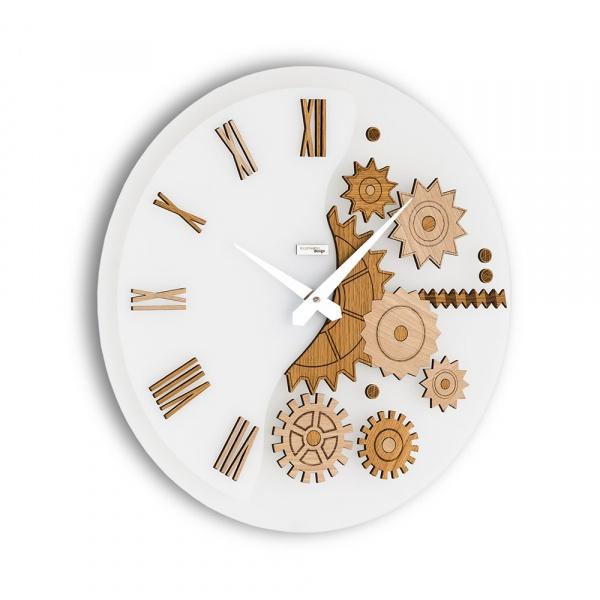 Zegar ścienny Incantesimo Design Mekkanico drewno bielone 052 S