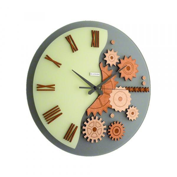 Zegar ścienny Incantesimo Design Mekkanico drewno wiśniowe 052 C