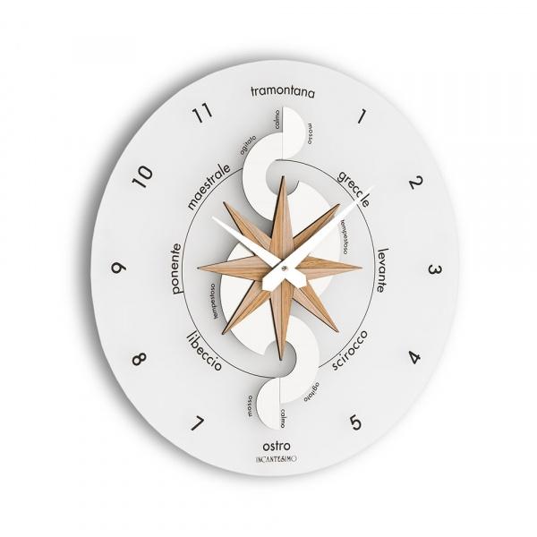 Zegar ścienny Incantesimo Design Nautico drewno bielone 051 S