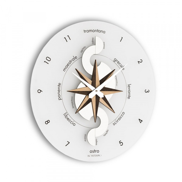 Zegar ścienny Incantesimo Design Nautico drewno tropikalne 051 W