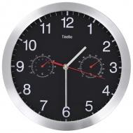 Zegar ścienny z higrometrem i termometrem, 30 cm, czarny