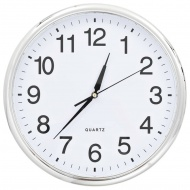 Zegar ścienny z mechanizmem kwarcowym, 36 cm, srebrny