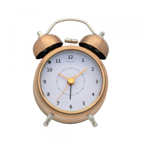 Zegar stojący 12,2 cm NeXtime Wake Up miedziany 5111CO