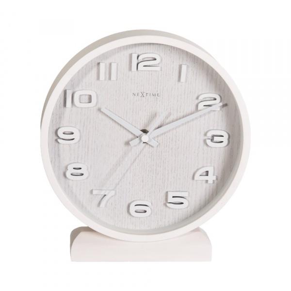 Zegar stojący 20 cm NeXtime Wood Wood Small biały 5192WI