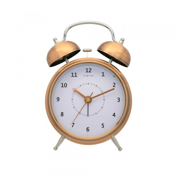Zegar stojący 21,5 cm NeXtime Wake Up miedziany 5112CO