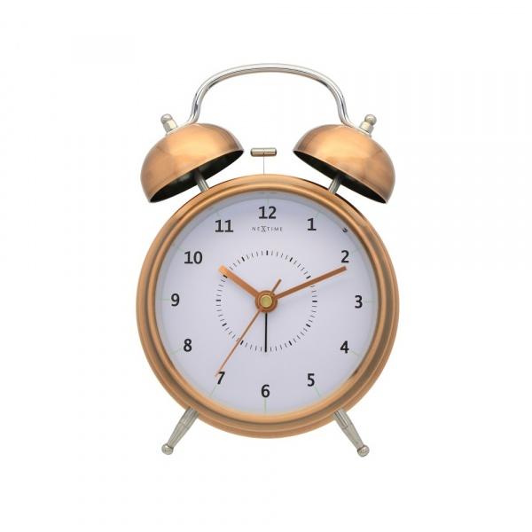 Zegar stojący 30 cm NeXtime Wake Up miedziany 5113CO