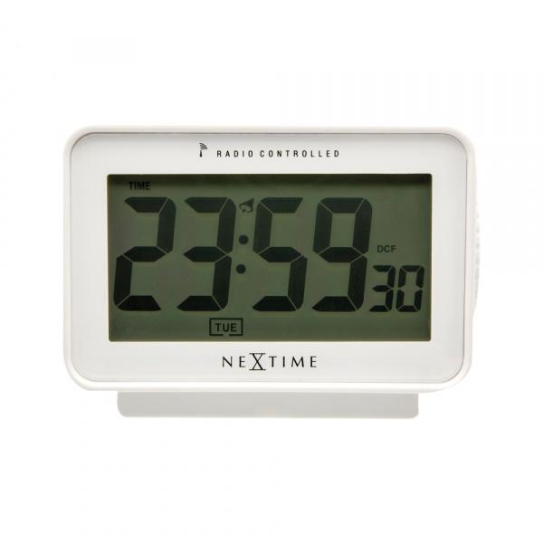 Zegar stojący 7,8 x 12,4 cm NeXtime Easy Alarm Radiocontrolled biały 5202WI