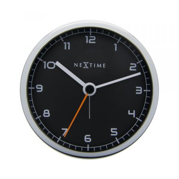 Zegar stojący 9 cm Nextime Company Alarm czarny 5194WI