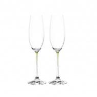 Zest. 2 kieliszków do szampana Leonardo La Perla przezroczysty/zieleń