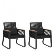 Zestaw 2 krzeseł czarne CANETTO