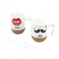 Zestaw 2 kubków na korkowej podstawce 250ml Lips & Mustache białe