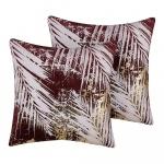 Zestaw 2 poduszek dekoracyjnych w palmy 45 x 45 cm burgundowy CALLA