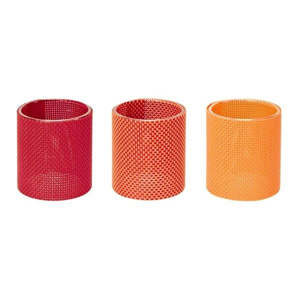 Zestaw 3-ech szklanych świeczników Contento Marah pomarańczowe CO-655061