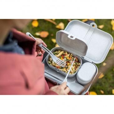 Zestaw 3 lunchboxów ze sztućcami Pascal ready organic pink 3168669