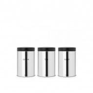 Zestaw 3 pojemników z napisami 1,4l Brabantia srebrny/czarny