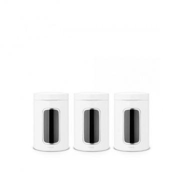Zestaw 3 pojemników z okienkiem 1,4 l białe - Brabantia