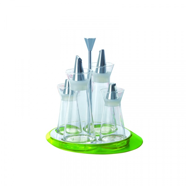 Zestaw 4 pojemników - sól, pieprz, olej, ocet Casa Bugatti zielony GLMU-02150