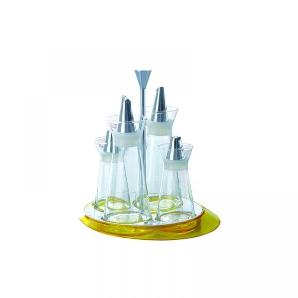 Zestaw 4 pojemników - sól, pieprz, olej, ocet Casa Bugatti żółty GL6U-02150