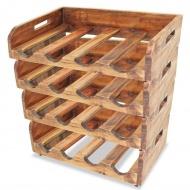 Zestaw 4 stojaków na 16 butelek wina, lite drewno z odzysku