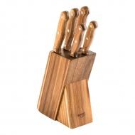 Zestaw 5 noży w bloku Lamart Wood brązowy