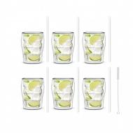 Zestaw 6 szklanek Bolla 300ml i 6 słomek szklanych 20cm białych 6988