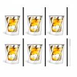Zestaw 6 szklanek do whisky 300ml i 6 słomek szklanych 20 cm czarnych 7350
