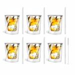 Zestaw 6 szklanek do whisky 300ml i 6 słomek szklanych 20cm transparent 7343