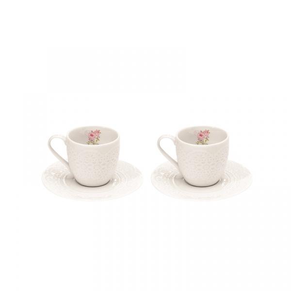 Zestaw filiżanek espresso z talerzykami 100 ml Nuova R2S La Belle Maison 2 szt. kwiaty 1026 RSE