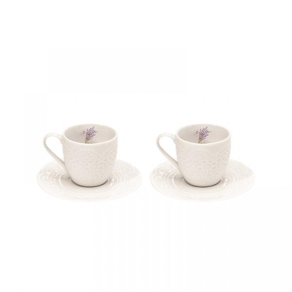 Zestaw filiżanek espresso z talerzykami 100 ml Nuova R2S La Belle Maison 2 szt. wrzosy 1026 LAV