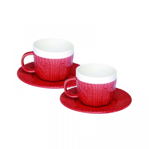 Zestaw filiżanek espresso z talerzykami 2 szt. Nuova R2S czerwony 009 RED