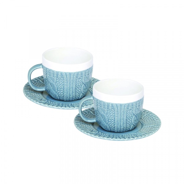 Zestaw filiżanek espresso z talerzykami 2 szt. Nuova R2S niebieski 009 BLUE