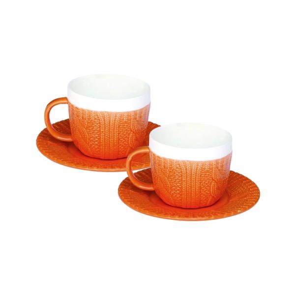 Zestaw filiżanek espresso z talerzykami 2 szt. Nuova R2S pomarańczowy 009 ORA