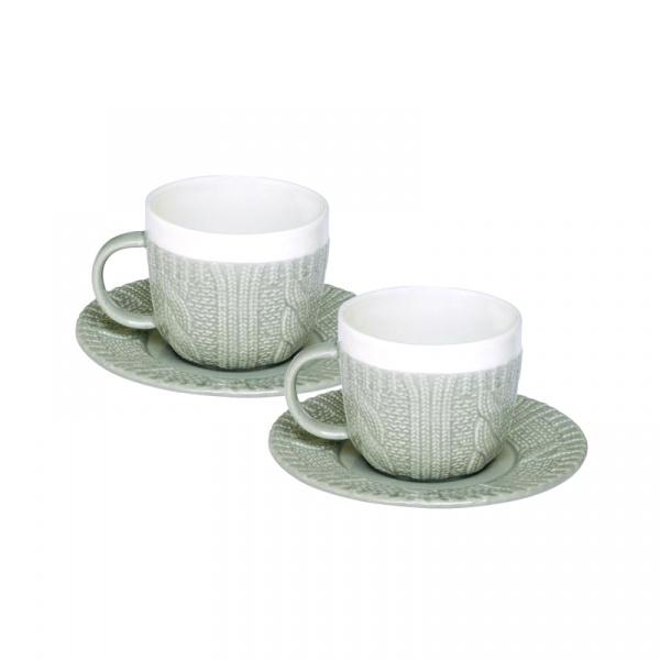 Zestaw filiżanek espresso z talerzykami 2 szt. Nuova R2S szary 009 GREY