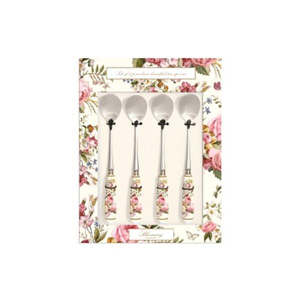 Zestaw łyżeczek z porcelanowym uchwytem 4szt Nuova R2S Blooming Opulence biały kwiaty 965 BLOC