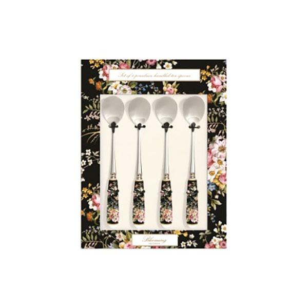 Zestaw łyżeczek z porcelanowym uchwytem 4szt Nuova R2S Blooming Opulence czarny kwiaty 965 BLOB