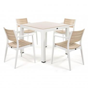 Zestaw mebli ogrodowych REGNUM 4+1 : Kolor - White/Ivory