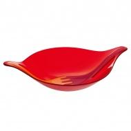 Zestaw: misa i sztućce do serwowania sałatek XL Koziol Leaf pomarańczowo-czerwony