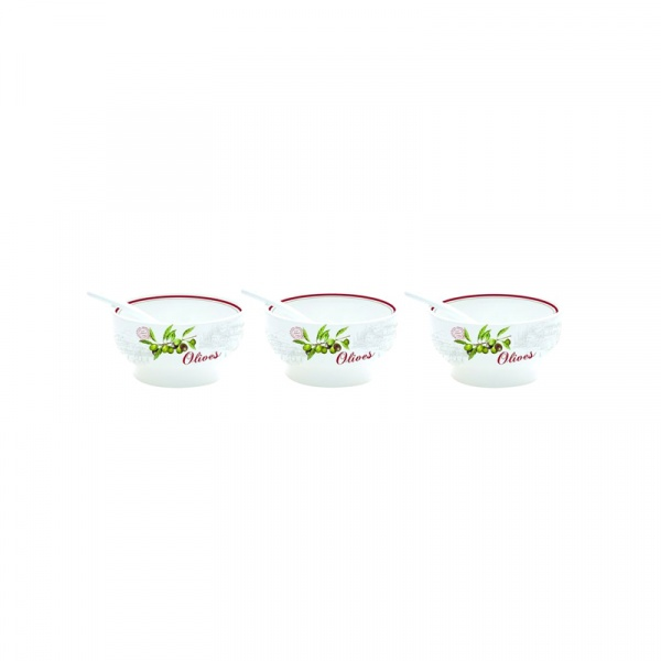 Zestaw miseczek 3 szt. z łyżeczkami Nuova R2S Bistrot Olives 824 OLIV