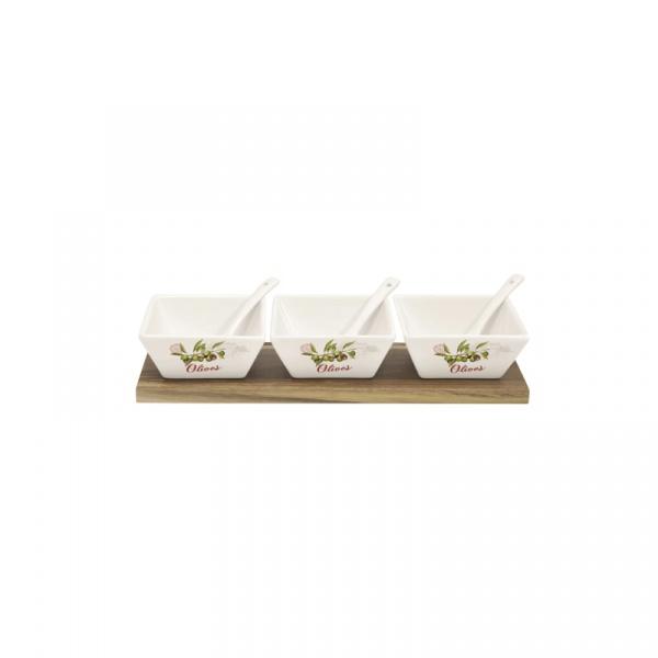 Zestaw miseczek 3 szt. z łyżeczkami Nuova R2S Bistrot Olives 826 OLIV