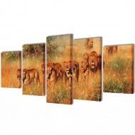 Zestaw obrazów Canvas 100 x 50 cm Lwy
