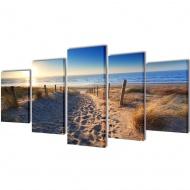 Zestaw obrazów Canvas 100 x 50 cm Piasek na plaży