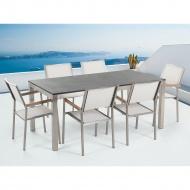 Zestaw ogrodowy naturalny kamień 180 cm 6 osobowy krzesła białe GROSSETO